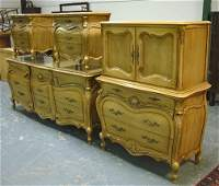CARVED FRENCH STYLE BEDROOM SUITE, 5 PC; HEADBOAR