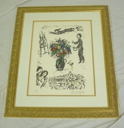 5215: FRAMED CHAGALL PRINT, ALSO MARKED HC; IMAGE IS 16