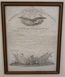 COMMISSION SIGNED BY ABRAHAM LINCOLN AUGUST 6, 1861 FOR