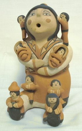 SIGNED INDIAN POTTERY FIGURE, WOMAN & CHILDREN; J