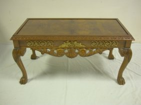CARVED BRONZE MOUNTED COFFEE TABLE W/BURL TOP & H