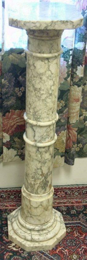 GRAY & WHITE MARBLE PEDESTAL; 40 3/4 IN H, TOP IS