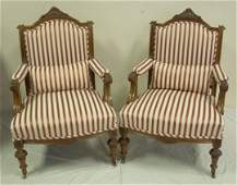1120: PR OF CARVED, UPHOLSTERED ARM CHAIRS W/MATCHING P