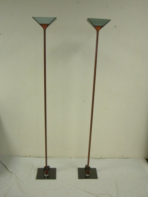 1148: PR OF FLOS, ITALY TALL BLACK FLOOR LAMPS W/REFLEC