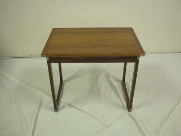1151: SMALL MODERN ROSEWOOD TABLE W/PEWTER CORNER INSER