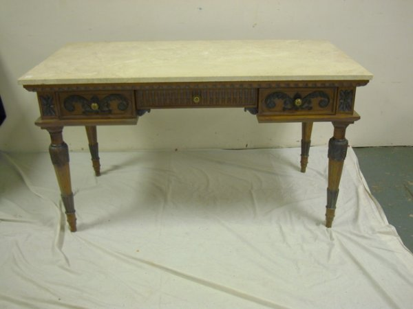1154: CARVED, MARBLE TOP DESK MADE IN ITALY FOR BLOOMIN