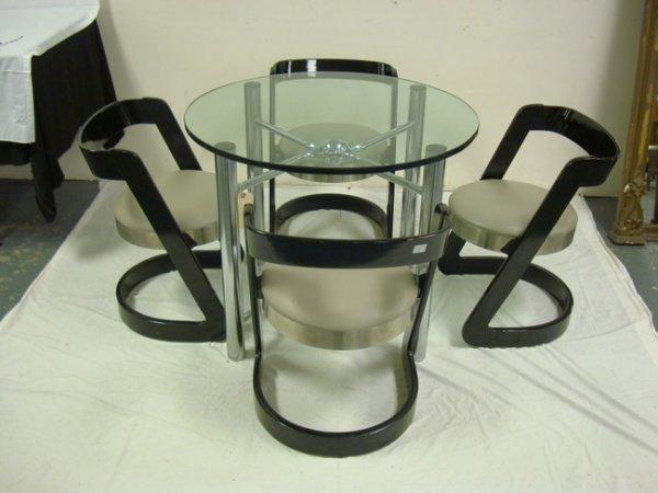 1155: 5 PC MODERN DINETTE SET; STEEL BASE, GLASS TOP TA