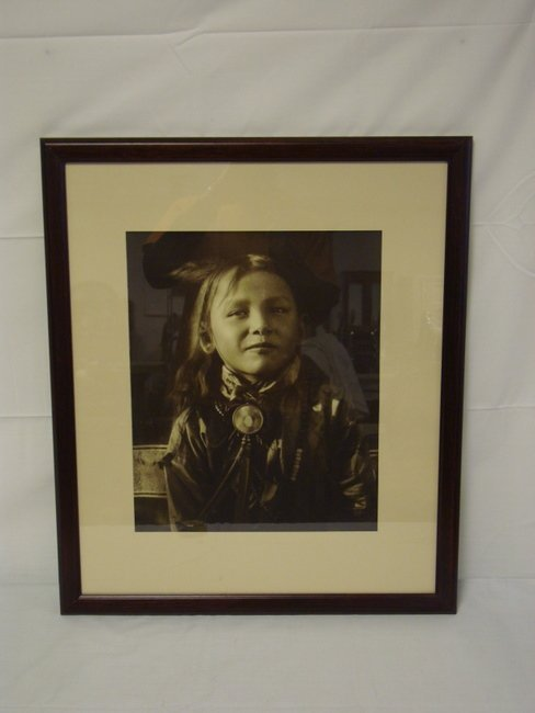 1162: FRAMED CARL MOON PHOTO OF AN INDIAN CHILD; IMAGE