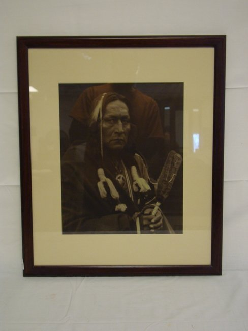1164: FRAMED CARL MOON PHOTO OF AN INDIAN; IMAGE IS 16