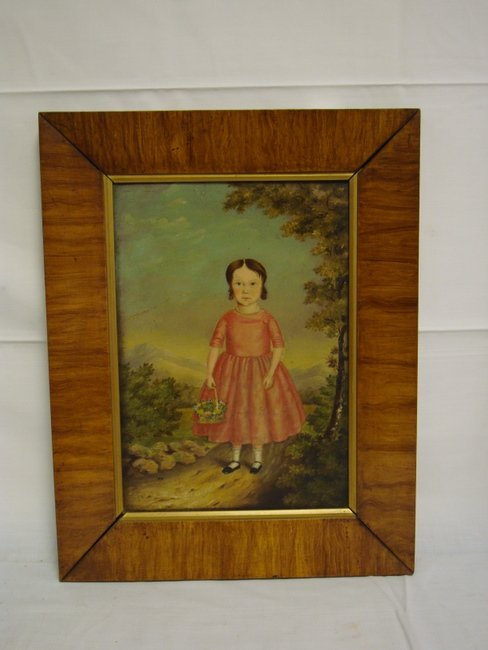 1170: PRIMITIVE OIL ON BOARD OF A YOUNG GIRL IN A PINK