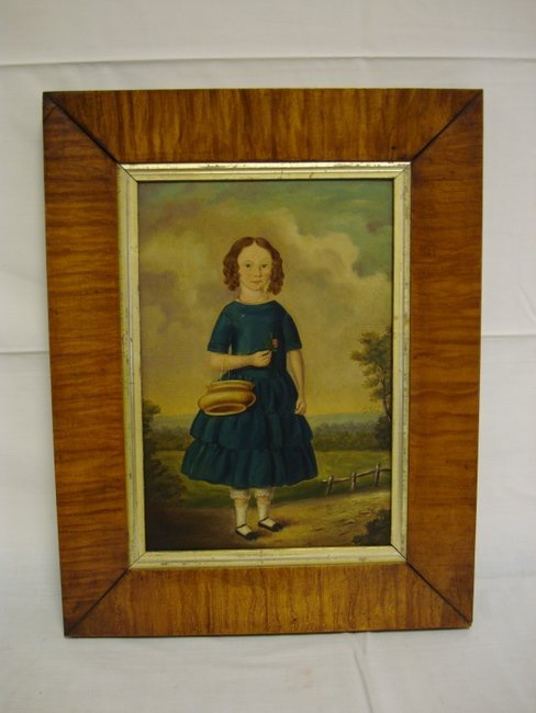 1171: PRIMITIVE OIL ON BOARD OF A YOUNG GIRL IN A BLUE