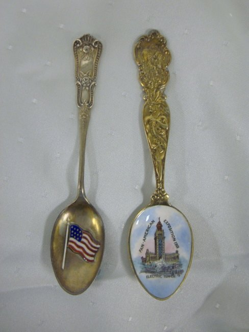 4: TWO STERLING SOUVENIER SPOONS; ONE PAN AMERICAN EXPO