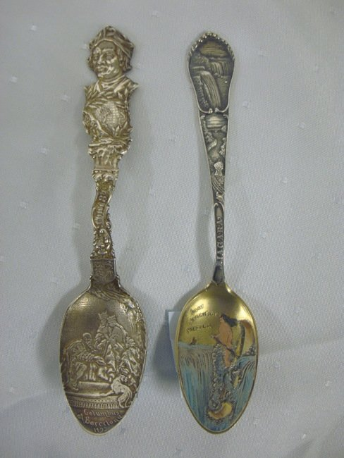 7: TWO STERLING SOUVENIER SPOONS; ONE CHICAGO *COLUMBUS