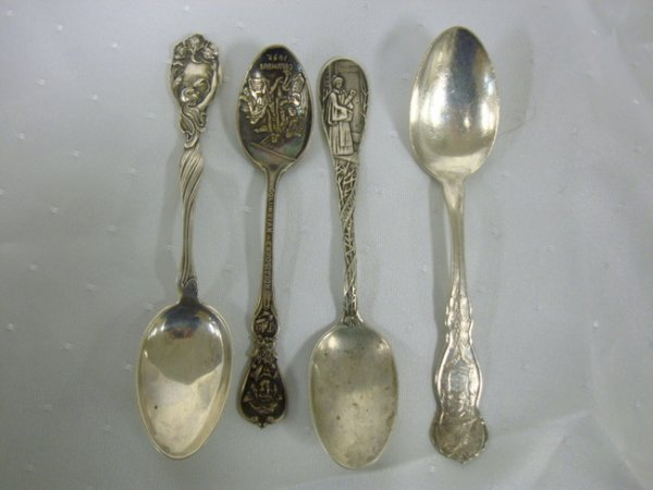 15: FOUR STERLING SOUVENIER SPOONS; ONE COLUMBIAN EXPOS