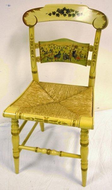 1051: HITCHCOCK LIM ED RUSH SEAT CHAIR W/HP SCENE *SKAT