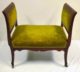 MAHOGANY WINDOW BENCH, UPHOLSTERED; 31 IN W, 19 1