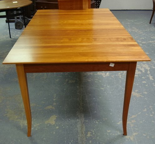 1138: CHERRY DINING TABLE W/2 LEAVES; SIGNED BY THE CAB