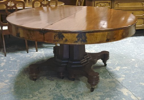 1145: 60 IN MAHOGANY ROUND PEDESTAL EXTENSION TABLE W/3