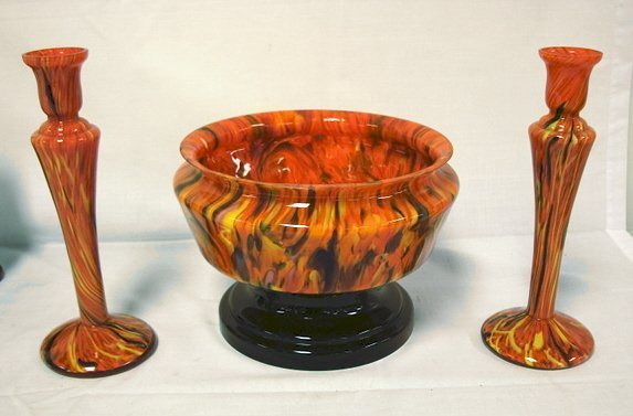 1152: CZECH GLASS FRIT DECORATED CONSOLE SET; BOWL W/OR