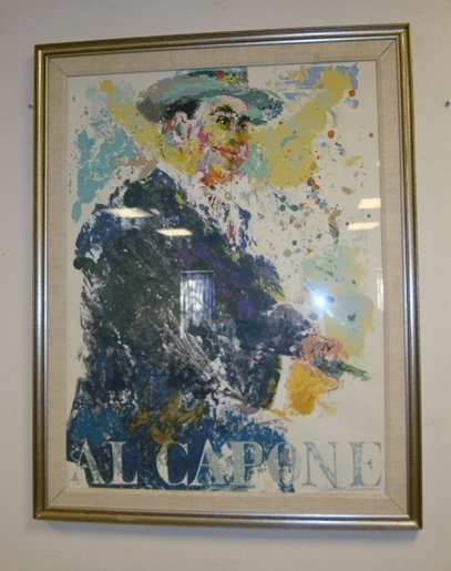 1153: LARGE FRAMED LEROY NEIMAN PRINT OF ALL CAPONE; #8