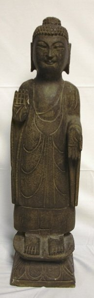 1158: LARGE CARVED STONE BUDDHA; 27 1/2 IN H, 6 3/4 IN