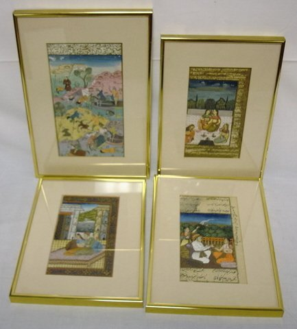 1159: GROUP OF 4 FRAMED PERSIAN PAINTINGS; LARGEST IMAG