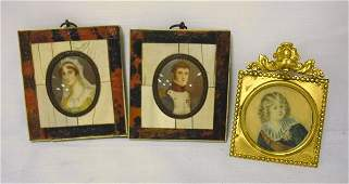 1372: GROUP OF 3 MINIATURE PAINTINGS; MAN, WOMAN & CHIL