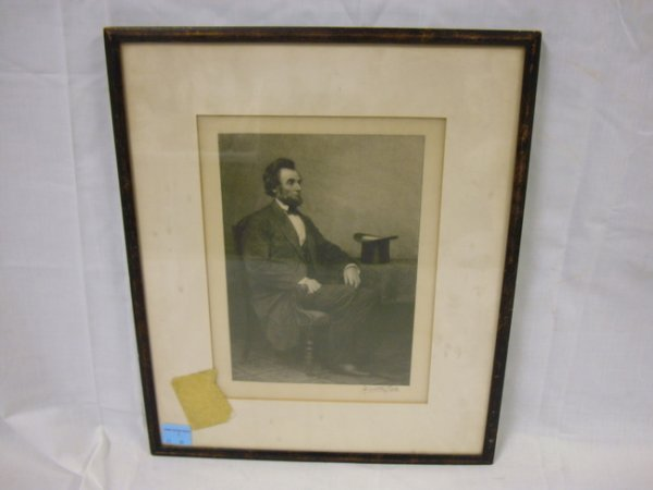 5: ENGRAVING OF PRESIDENT LINCOLN SEATED; BY TIMOTHY CO