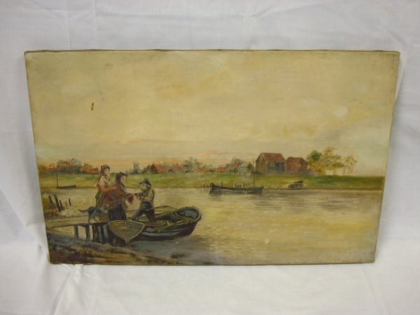 6: 19TH C. OIL ON CANVAS, RIVER FERRY SCENE, UNSIGNED;