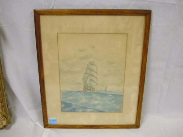 8: WATERCOLOR BY E. LANHAM; SAILING SHIPS IN STORM; 11