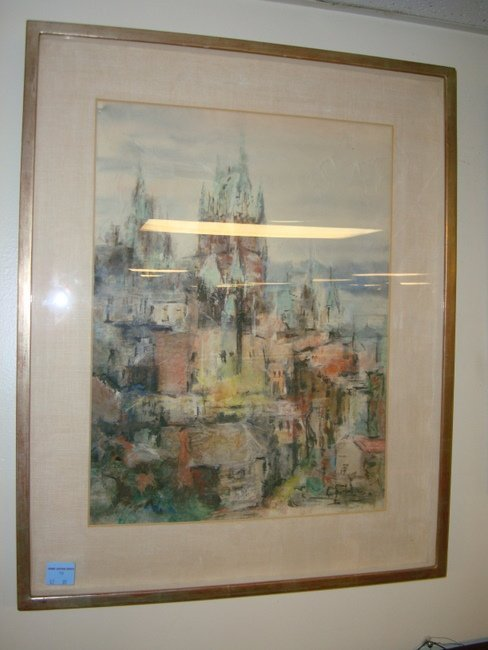 10: WATERCOLOR CASTLE SCENE BY ALMA BURKE; 14 1/2 IN X