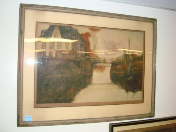 12: PRINT, VENUS CANAL W/COTTAGE; ARTIST SIGNED LOWER R