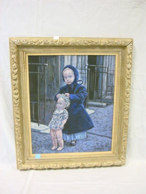 13: OIL ON BOARD NY ARTIST E. METZGAR; BLUE GIRL W/DOLL