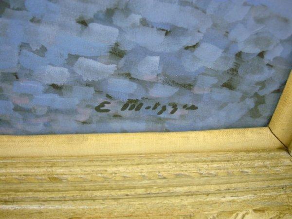 13: OIL ON BOARD NY ARTIST E. METZGAR; BLUE GIRL W/DOLL - 2