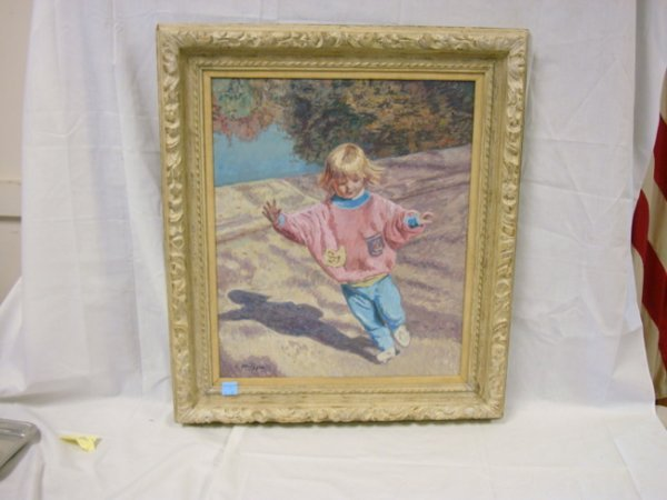 14: OIL ON BOARD NY ARTIST E. METZGAR; GIRL IN PINK; 20