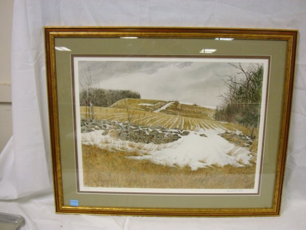 21: LITHO BY DAVID ARMSTRONG, COUNTRY LANDSCAPE W/STONE