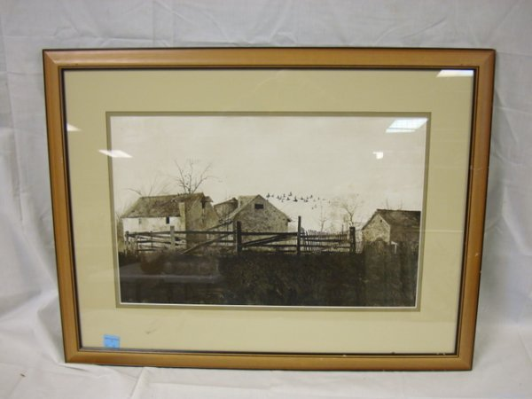 22: ANDREW WYETH PRINT; FARM LANDSCAPE; 22 1/2 IN X 14