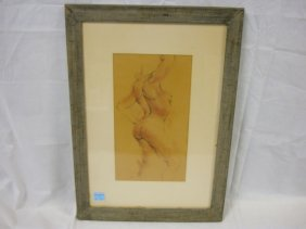ETCHING OF NUDE BY TITEL; 9 IN X 15 IN IMAGE