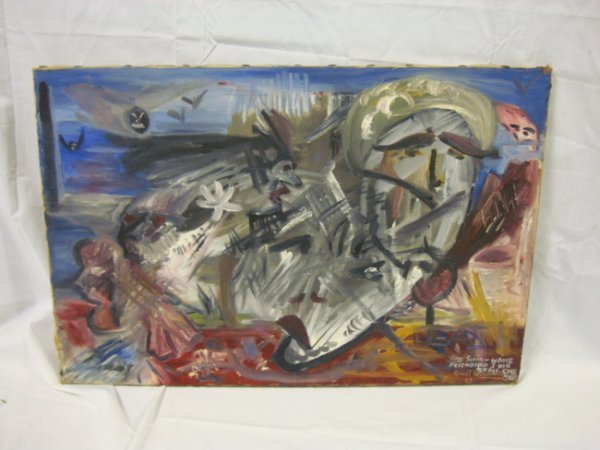 27: OIL ON CANVAS BY ROBERT WARSHAUSKY, 1959; W/INSCRIP