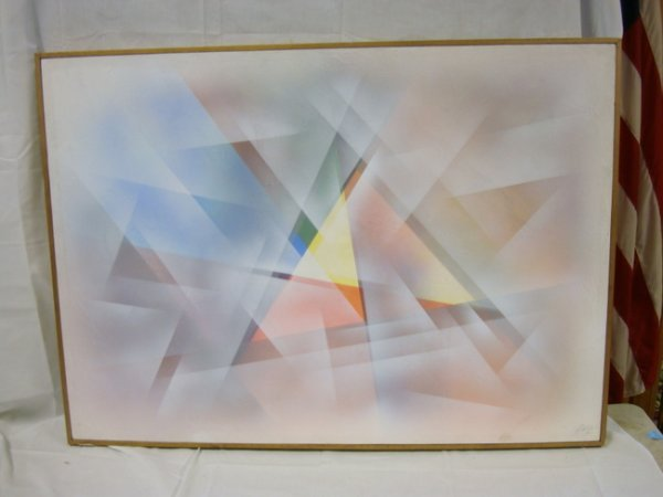 31: OIL ON CANVAS BY DOTY, MODERN GEOMETRIC ABSTRACT; 3