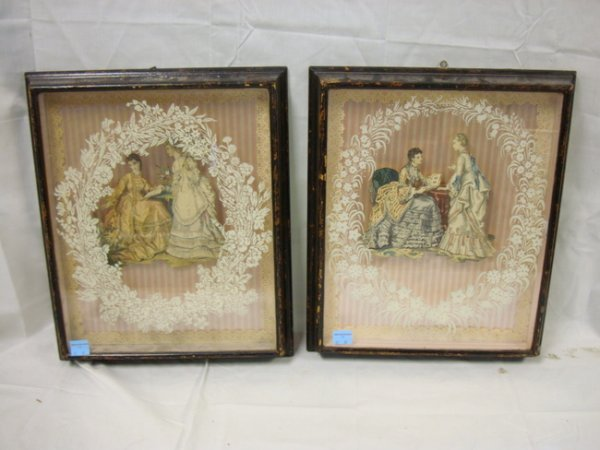 37: TWO SHADOWBOX, 3-D FASHION PRINTS; 14 X 17 IN IMAGE