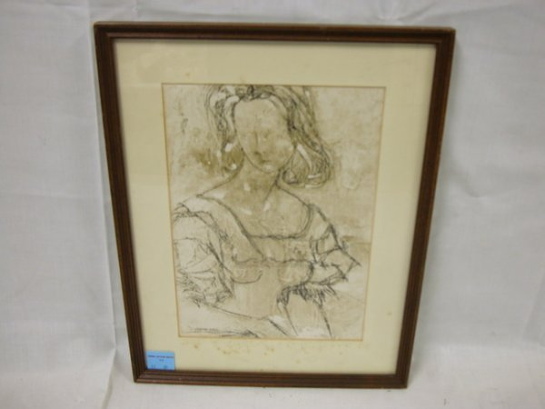 44: DRAWING ON PAPER OF A YOUNG GIRL; HAS OLD CHRISTIES
