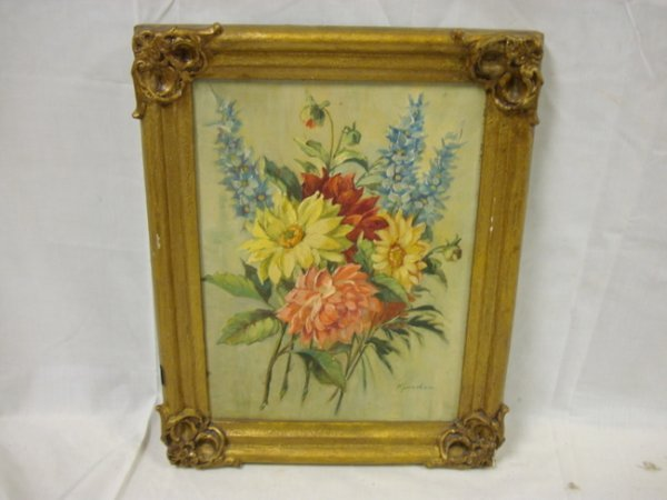 46: OIL ON CANVAS FLORAL STILL LIFE, SIGNED LOWER RIGHT