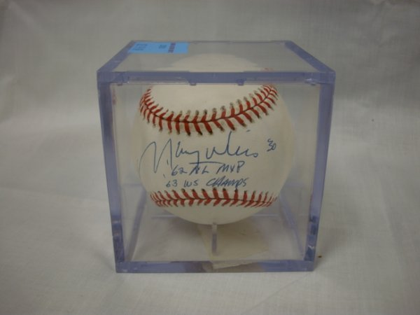 3018: SIGNED BASEBALL; *MAURY WILLS, '62 A.L. M.V.P, '6