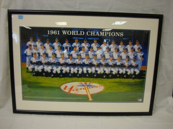 3068: 1961 WORLD CHAMPION YANKEES POSTER BY RON LEWIS A