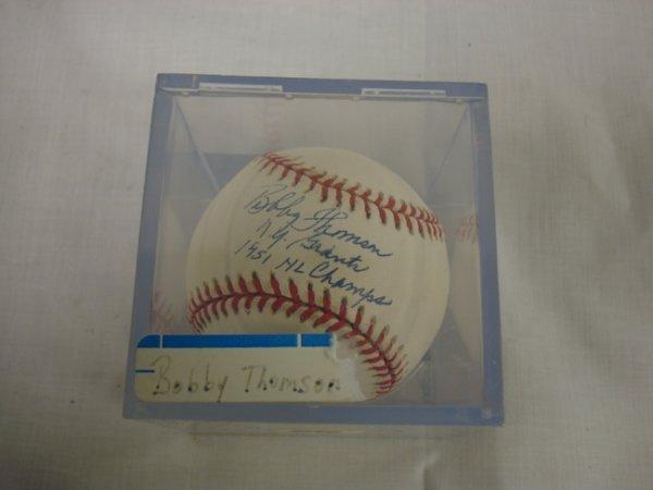 3227: SIGNED BASEBALL; BOBBY THOMPSON, NY GIANTS 1951 N