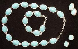 MATCHING STERLING SILVER & TURQOUISE NECKLACE, BRACELET