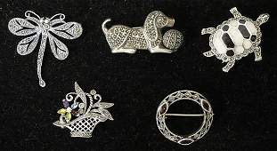 LOT OF 5 STERLING SILVER & MARCASITE BROOCH PINS