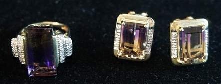 14K GOLD AMETHYST DIAMOND ACCENT RING W MATCHING