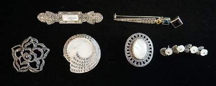 LOT OF 6 STERLING SILVER & MARCASITE BROOCH PINS